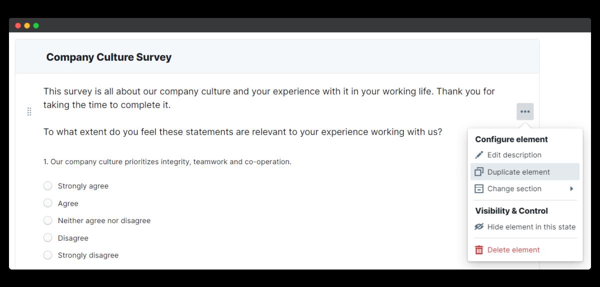 company culture survey - duplicate element