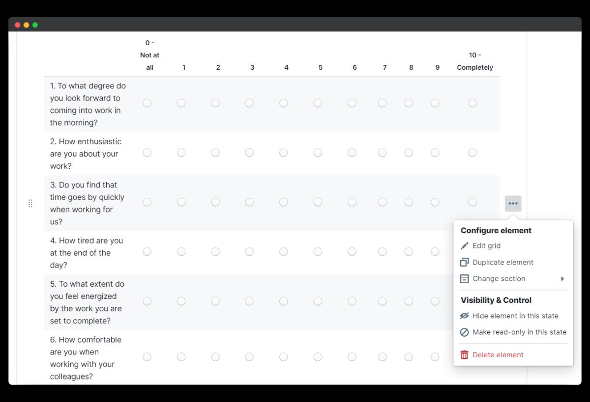mood survey - edit element