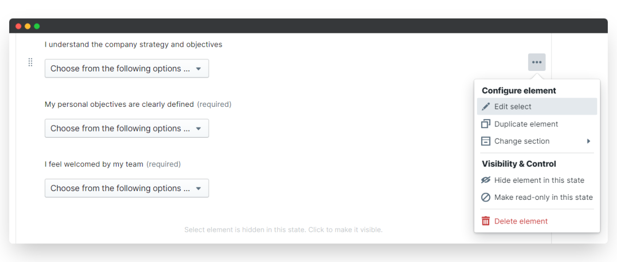 new joiner survey - edit select