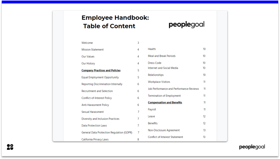 PeopleGoal Employee Handbook Template