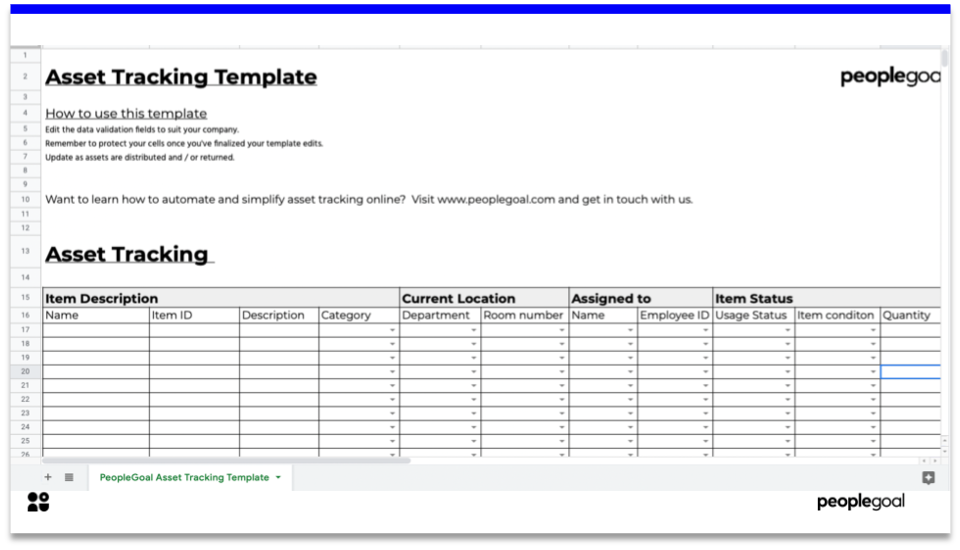 asset tracking - template