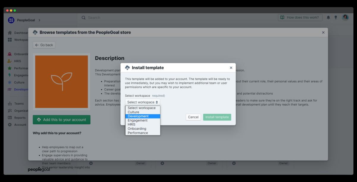 download development plan template to workspace