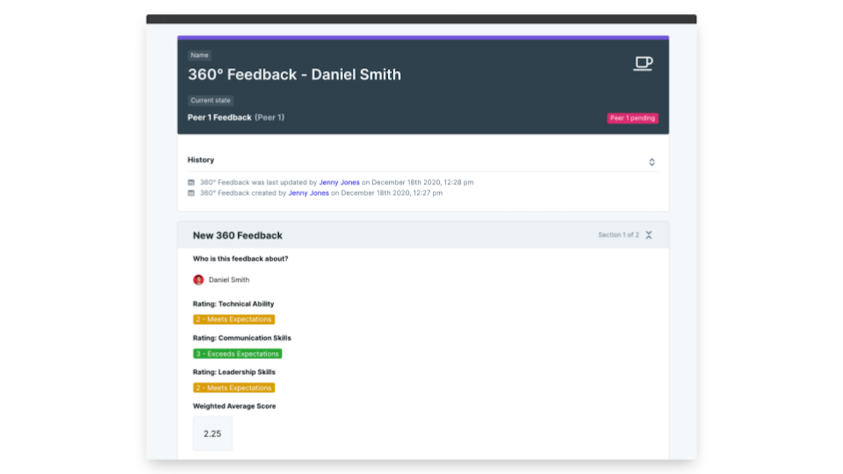 360 degree feedback software weighted calculations