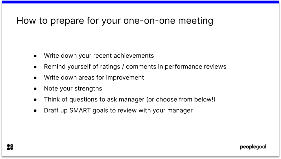 One on one meetings questions: preparing for the meeting