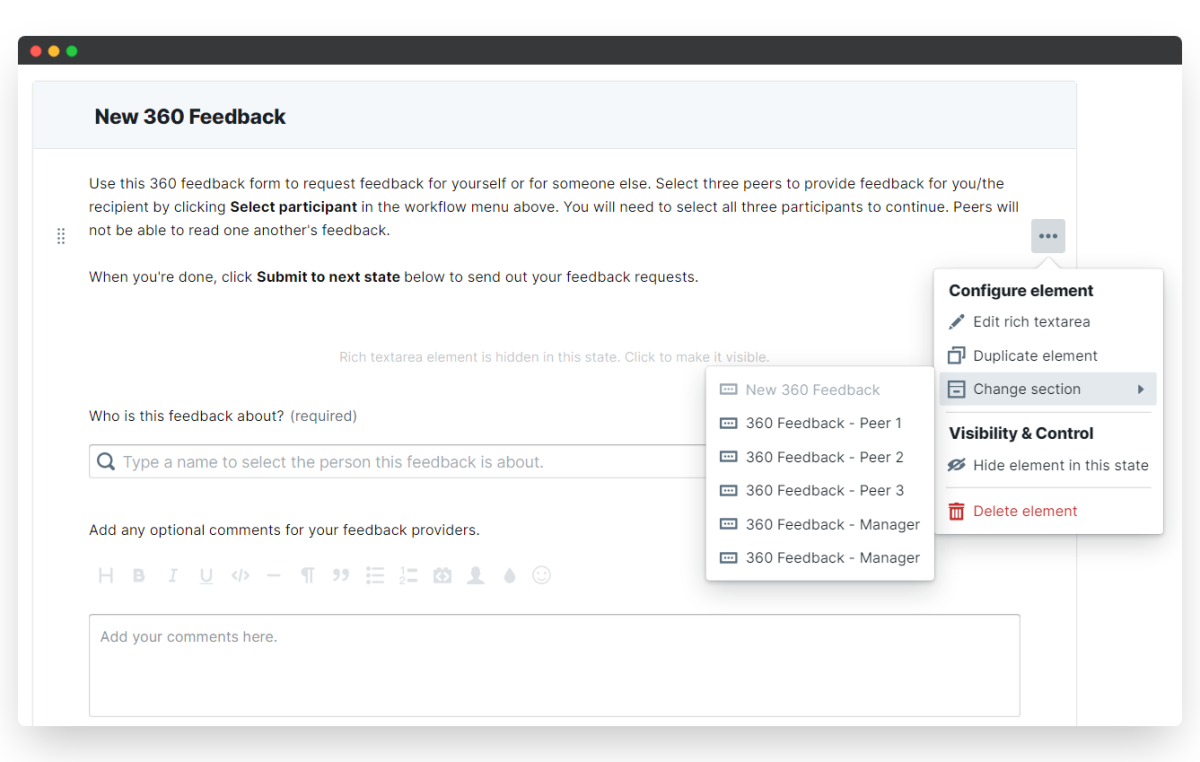 360 feedback - change section