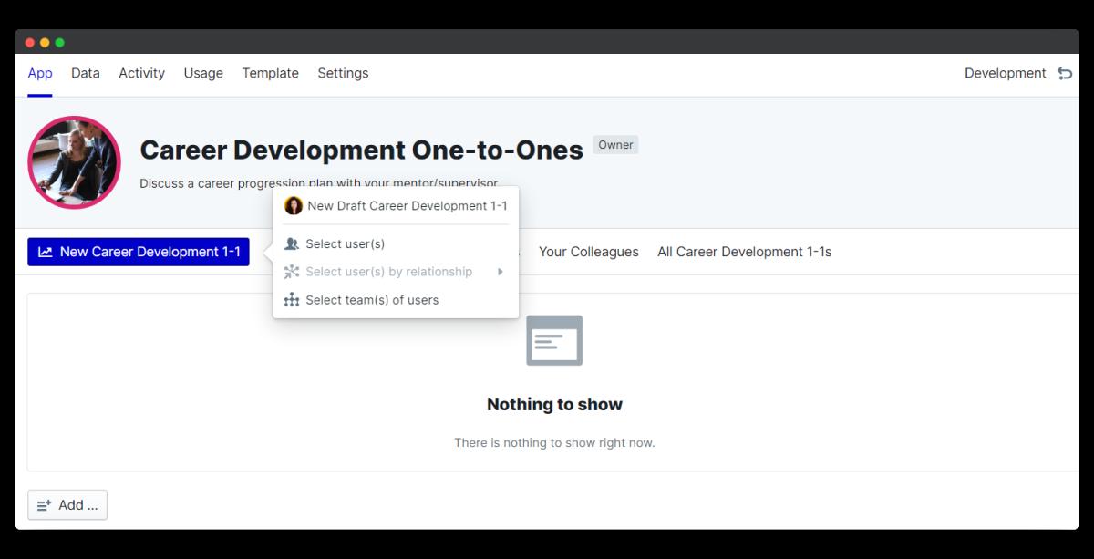 new development 1 on 1