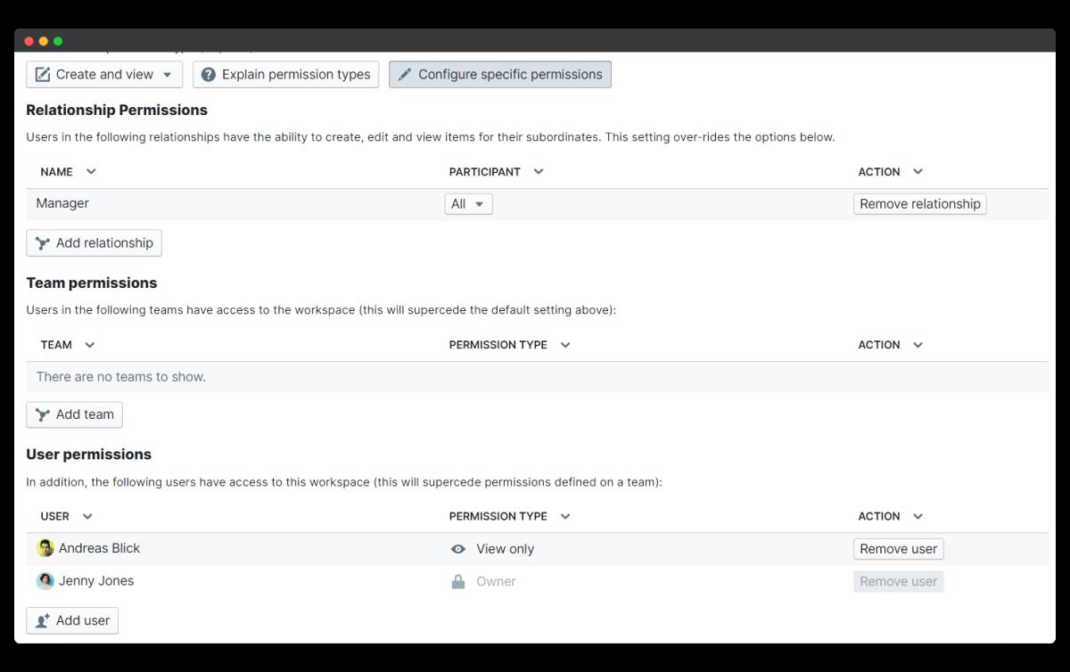 okrs - configure specific permissions