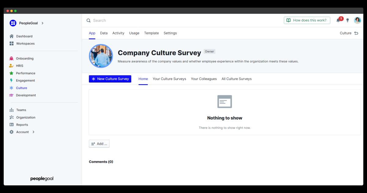company culture survey - app home
