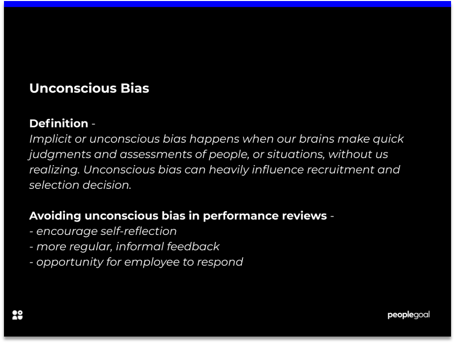 Unconscious bias in performance reviews