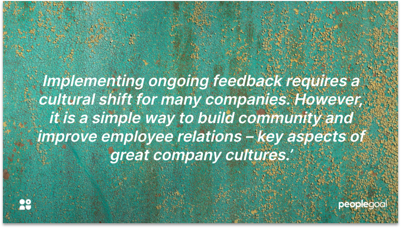 Company culture of ongoing feedback