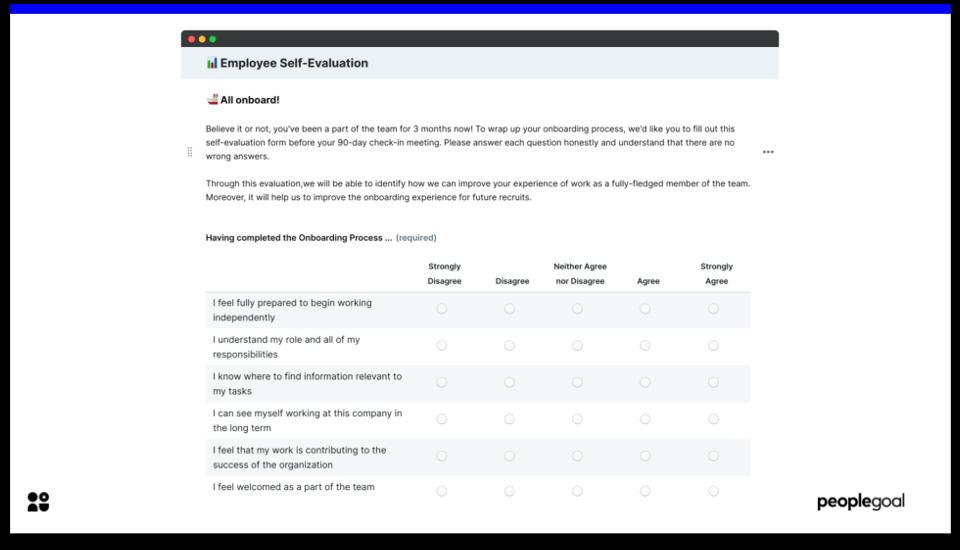 Employee Self-Evaluation - Onboarding Checklist