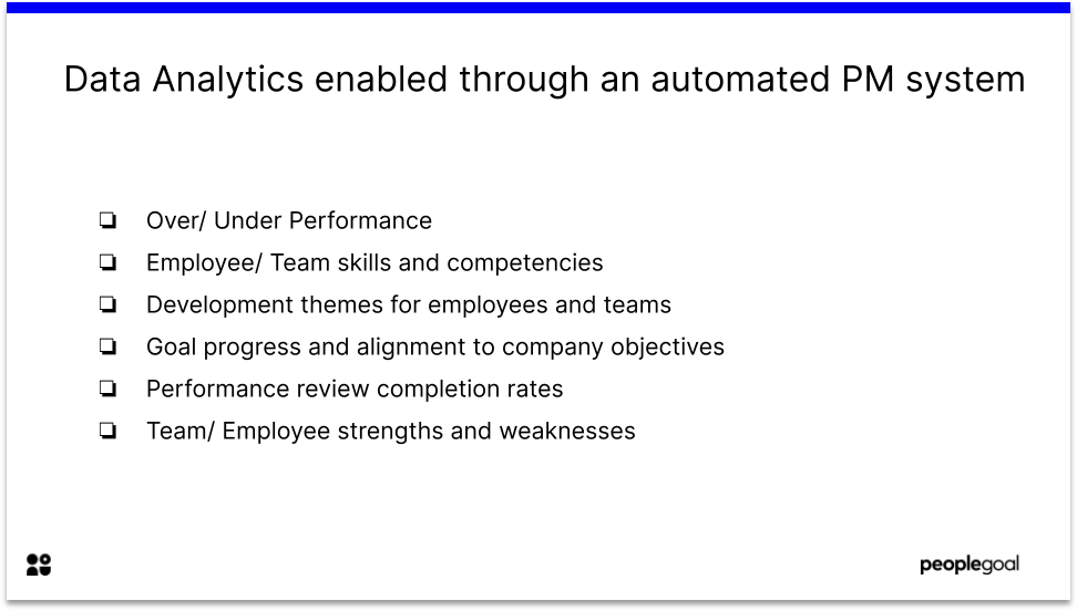 Data Analytics enabled through an automated PM system