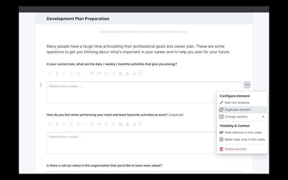 employee development plan duplicate element
