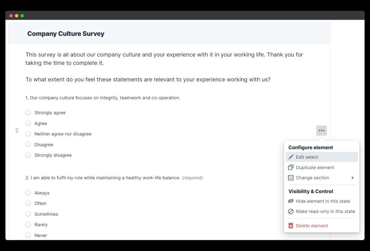 company culture survey - edit element