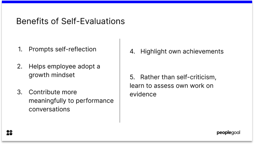 Self evaluations for performance reviews