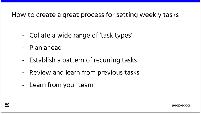 How to create a great process for setting weekly tasks