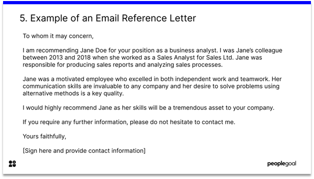 sample email reference letter