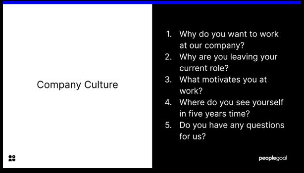 Interview Questions - company culture