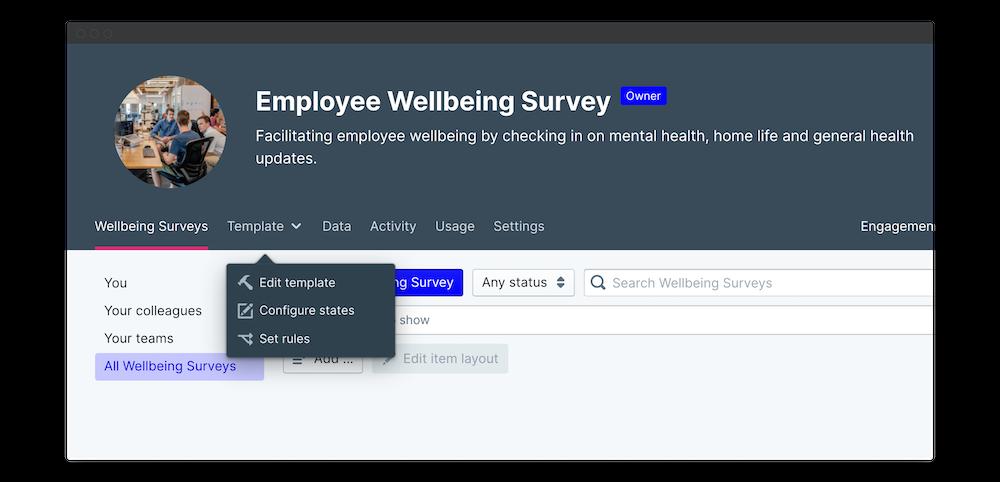 wellbeing survey edit template