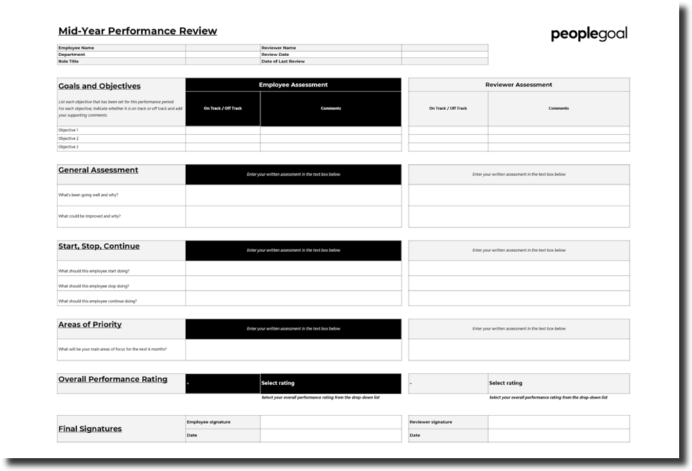Template for Performance Review - Mid-Year Review