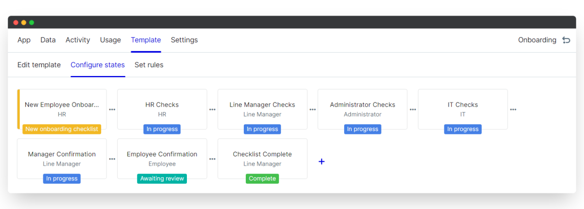 employee onboarding process - configure states