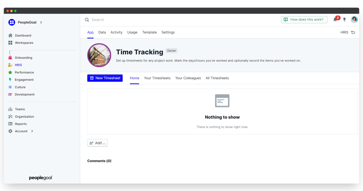 time tracking - app home