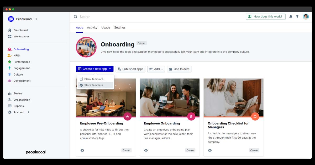 employee onboarding process - store template