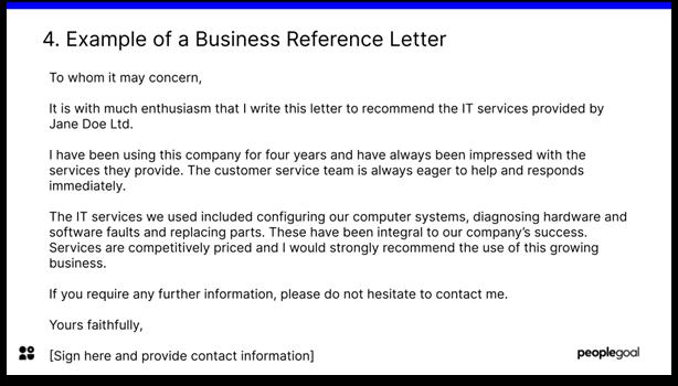 sample business reference letter