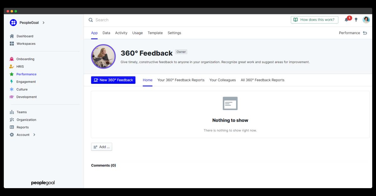 360 feedback - app home