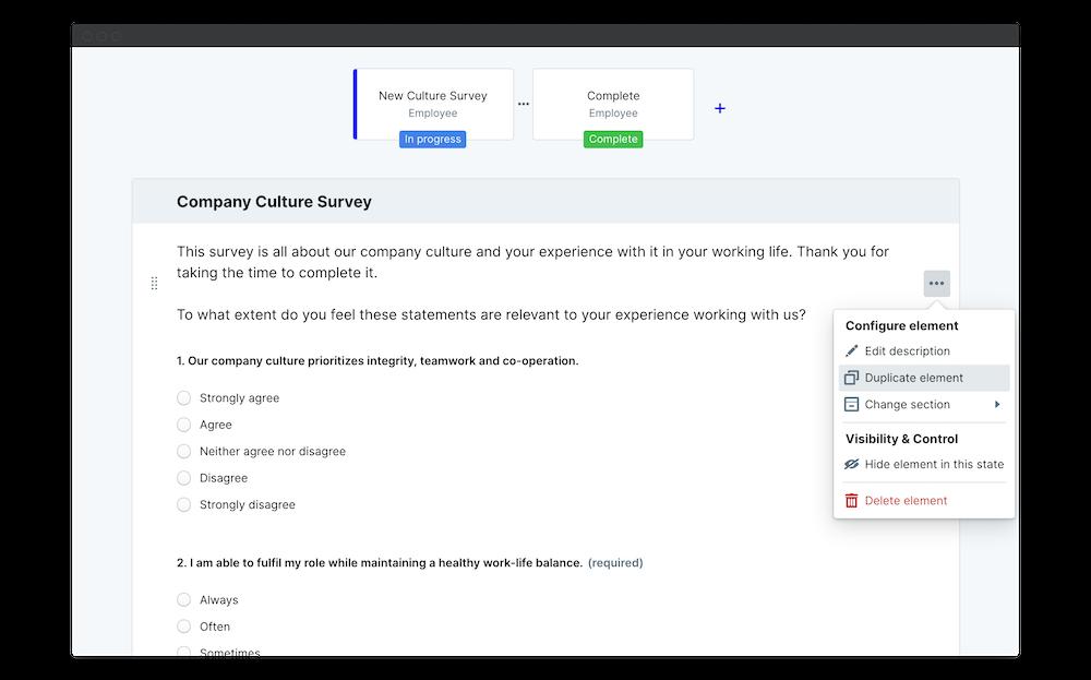 company culture survey duplicate element