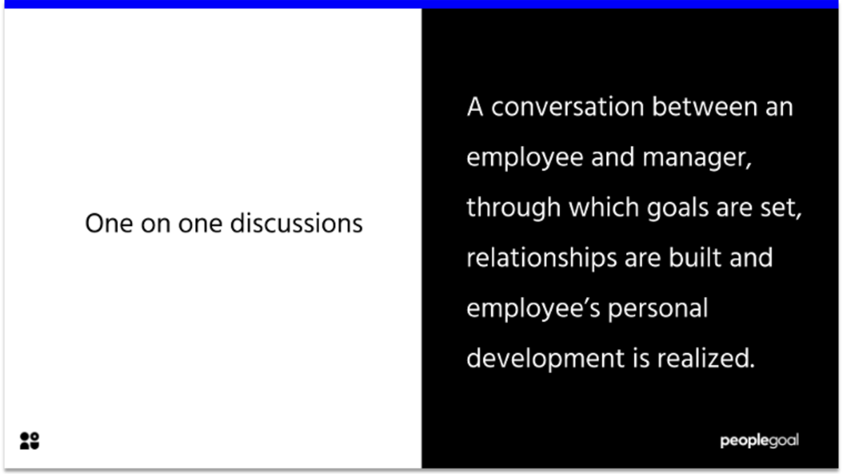 one on one discussion definition