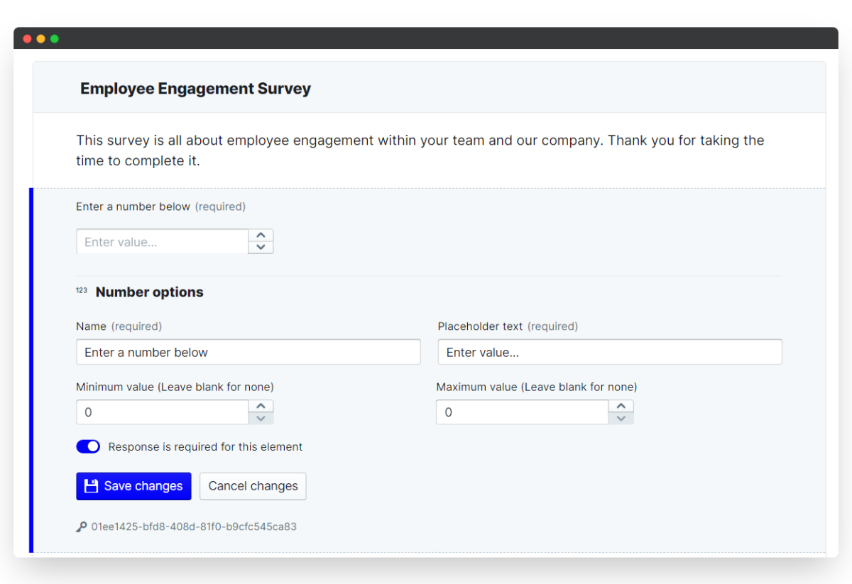 employee engagement survey - save changes