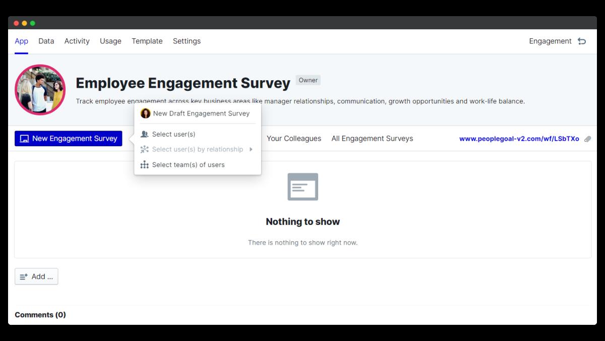 employee engagement survey - start new survey