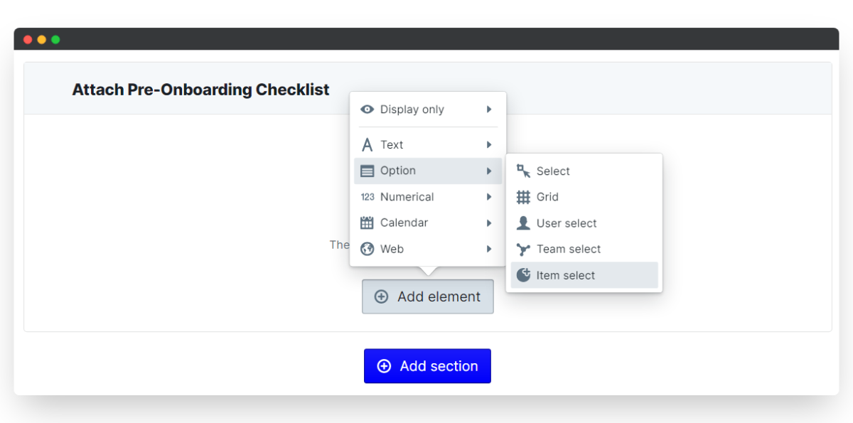employee onboarding process - new section