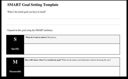 smart goals template word