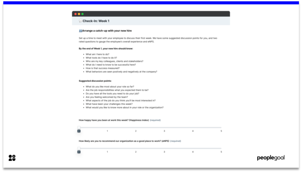 Check-In - Onboarding Checklist