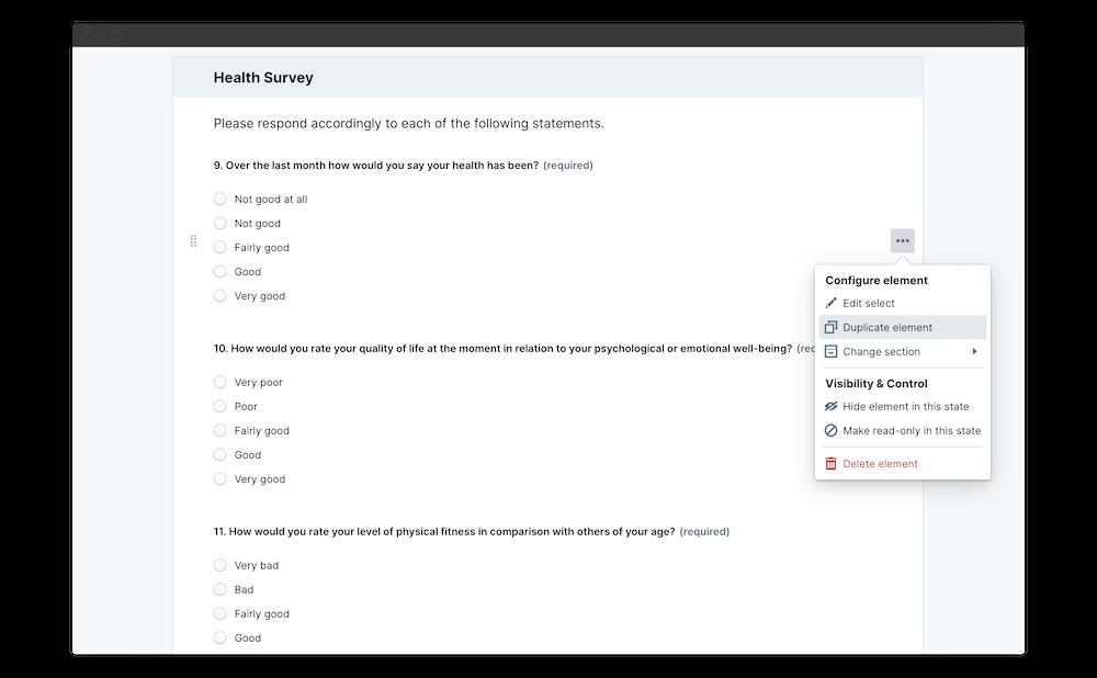 wellbeing survey duplicate element