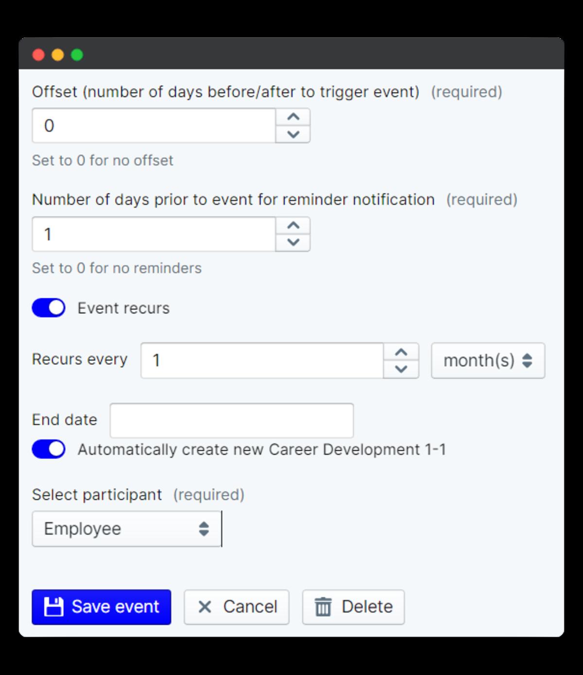 recur schedule