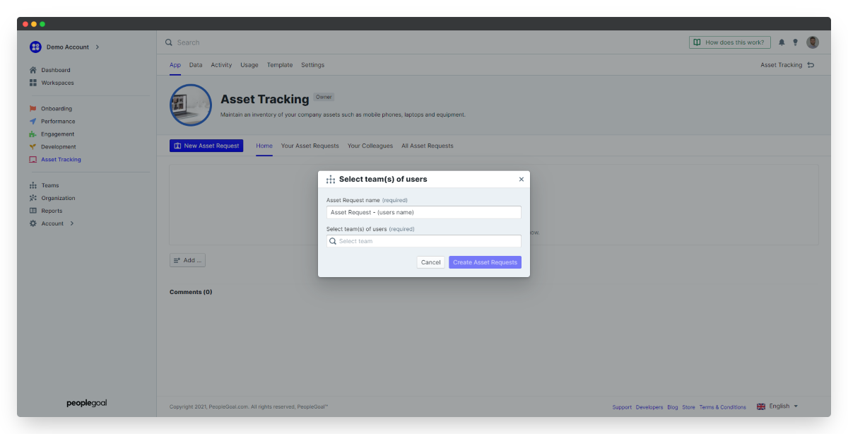 launch asset tracking app