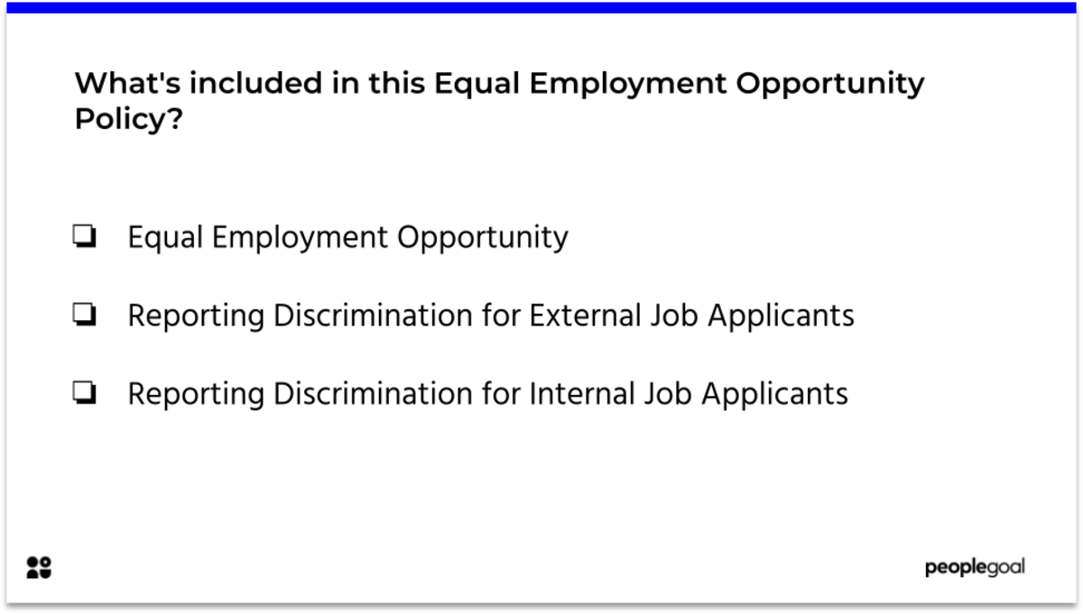 Whats included in this Equal Employment Opportunity policy