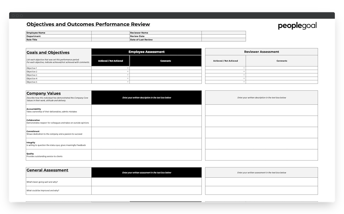 peoplegoal objectives outcomes performance review template