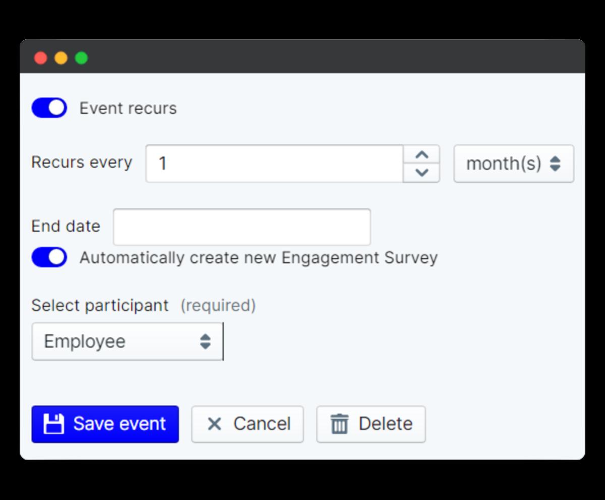 employee engagement survey - event recurs on schedule