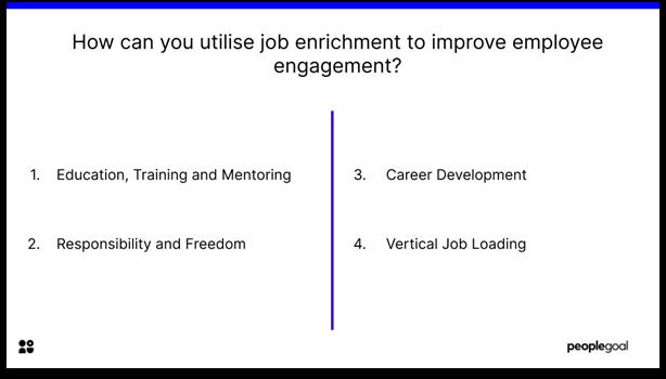 Job enrichment - improve engagement