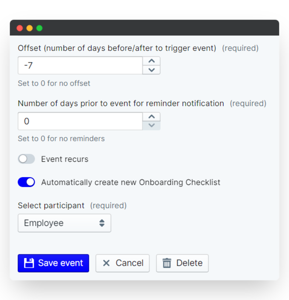 employee onboarding process - event settings