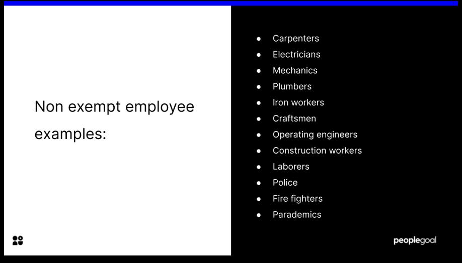exempt vs non exempt employees non exempt examples