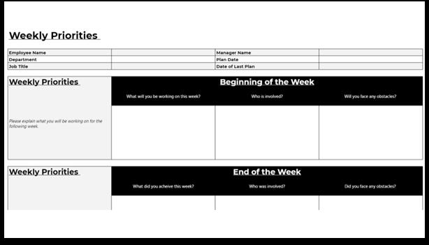 Weekly Priorities Template - PeopleGoal template