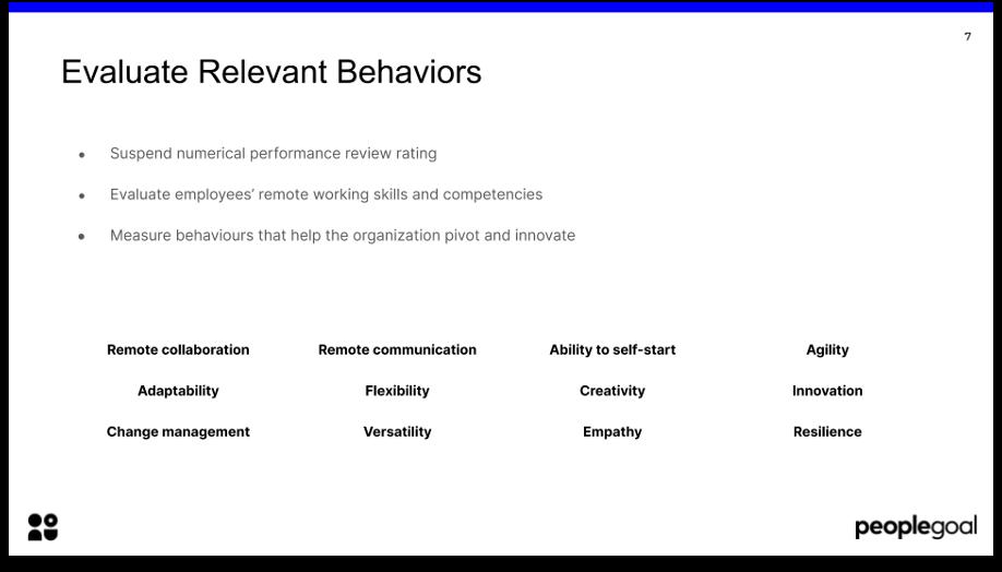 remote performance reviews evaluate relevant behaviors