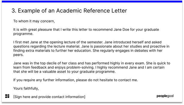 sample academic reference letter
