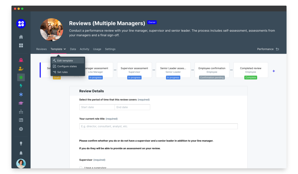 multiple manager reviews edit template
