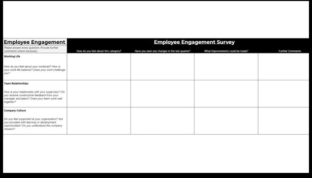 Employee Engagement Survey template - names survey